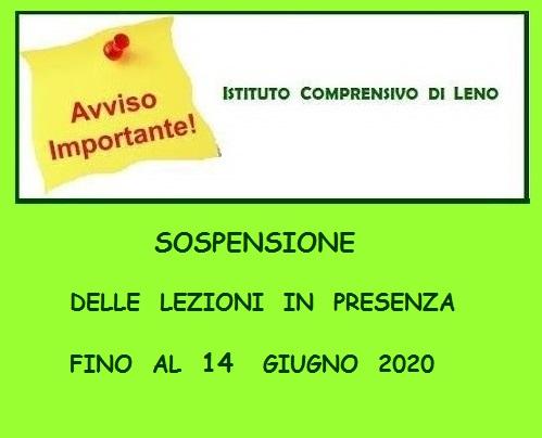 Avviso sospensione lezioni fino al 14-06-2020 (File xs)